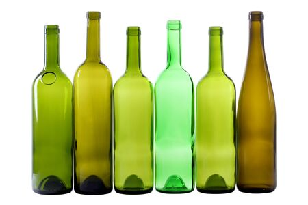 closed corks: Color photo of a glass bottles with a white background