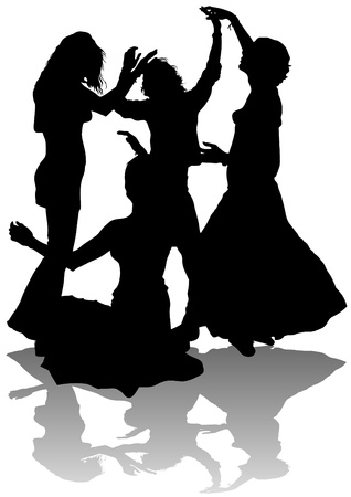 image of young girls dancing Stock Vector - 13283248