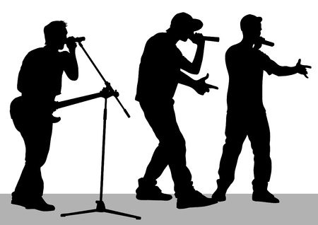 musician silhouette: drawing of a band on stage