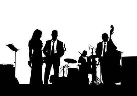 jazz drums: drawing of a jazz band on stage