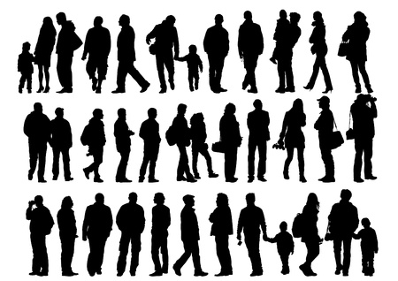 silhouette of man: drawing of a collection of silhouettes of men and women