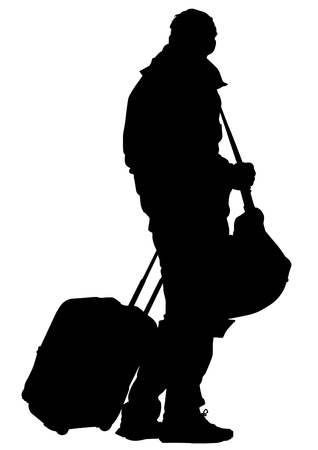 traveler: Vector drawing of a man high ground a suitcase
