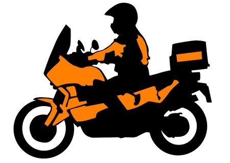 motorcyclist: Vector drawing a tourist motorcycle