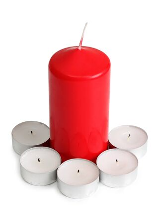 Color photo of candles on a wooden table Stock Photo - 13318354