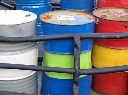 Color photograph of steel drums with gasoline Stock Photo - 13318399