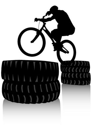 rysunek sylwetka chłopca rowerzysta Zdjęcie Seryjne - 13327539