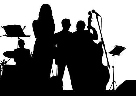 tekening van een jazz-band op het podium