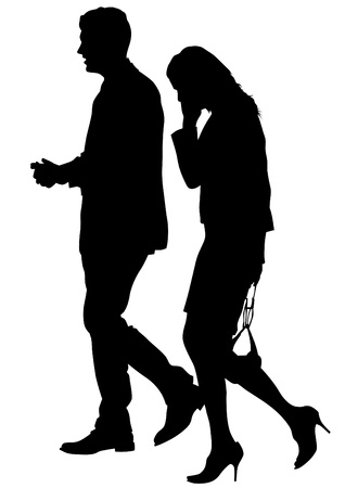 drawing of a man and a woman walking Vector