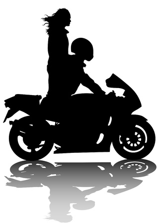 motorcyclist:  drawing a tourist sports motorcycle Illustration