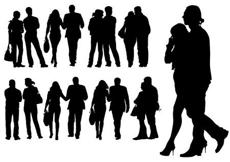 parejas caminando: dibujo de un hombre y una mujer caminando