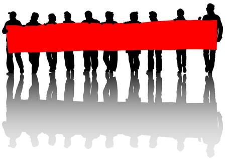 het tekenen van mensen whit grote banner Stock Illustratie