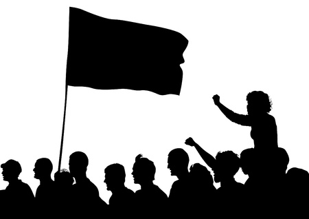 trekken massa's mensen naar vlag Stock Illustratie