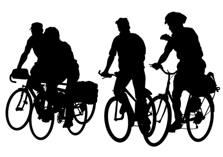 bicycle race:  drawing silhouette of a people crowd