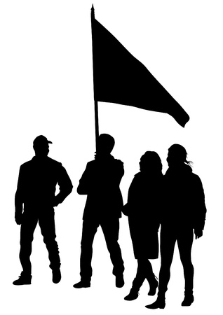 drawing people whit big flag Vector