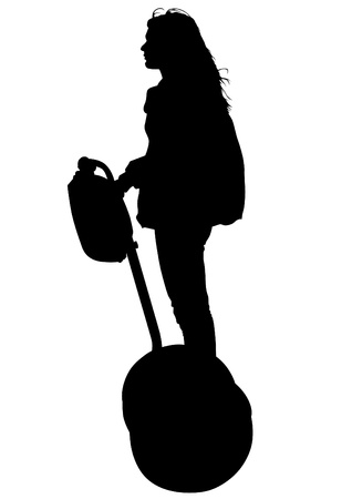 environmental science:  drawing of a young girl on an electric scooter