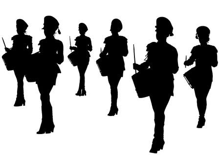 image of young girls with drums Vector