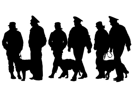 police dog:  drawing of a police man with dog