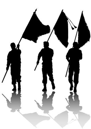 silhouette soldat: l'�laboration d'un soldat avec un drapeau dans ses mains Illustration