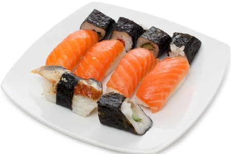 fish sushi on a plate Stock Photo - 13507068