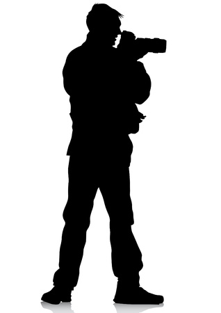 man with camera:  image of young photographers with equipment at work Illustration