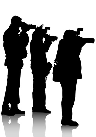 image of young photographers with equipment at work Stock Vector - 13507136