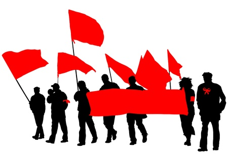 drawing people with red banner Vector