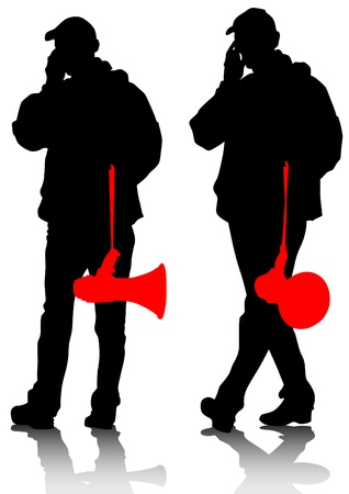 demonstrator: drawing of an adult man with a megaphone