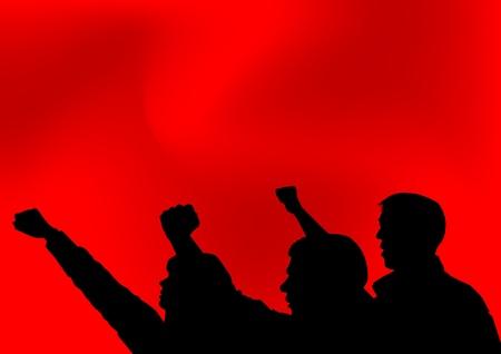 manifestacion: Imagen de las personas con los pu�os cerrados Vectores