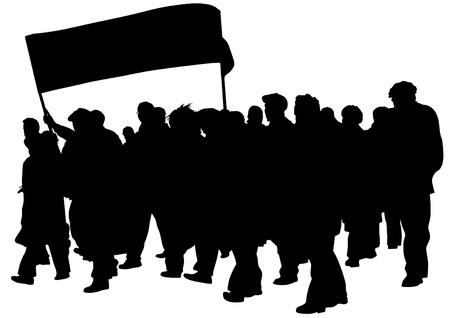 Tekening menigte met spandoeken en vlaggen