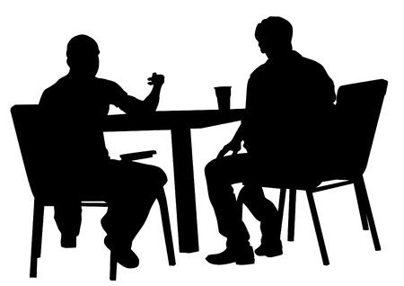 personas sentadas: Atraer a la gente en los cafés. Siluetas de personas en la vida urbana Vectores