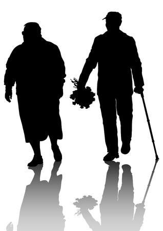 Drawing of an elderly couple walking Vector