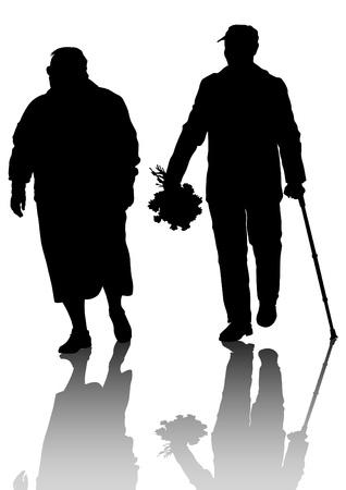 Tekening van een ouder echtpaar wandelen