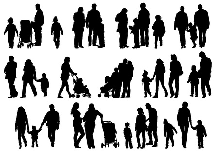 woman walk: Drawing parents and kids Illustration