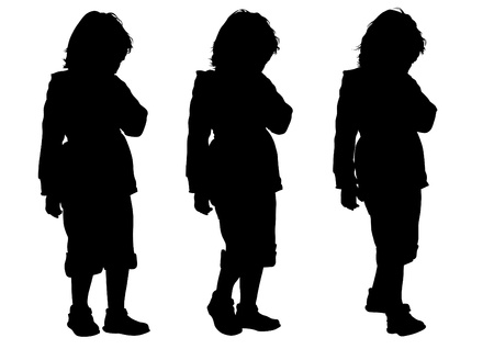 drawing silhouette of a little girl Stock Vector - 13654698