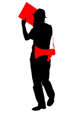 protest man: drawing of an adult man with a megaphone