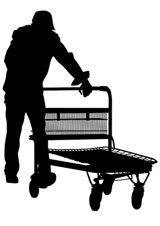 Vector drawing of a man with a trolley Stock Vector - 13654714