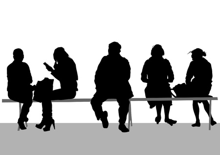 image of people on bench Vector