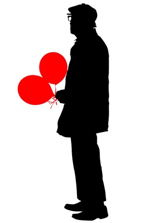 Vector drawing of an elderly man with balloons Vector