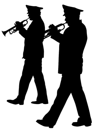 Vector image of a brass military orchestra Vector