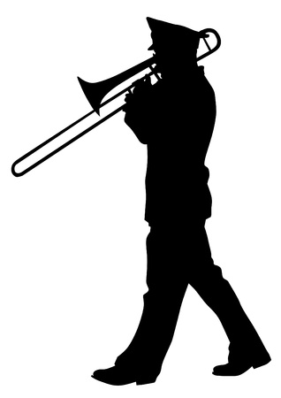 parade: Vector image of a brass military orchestra