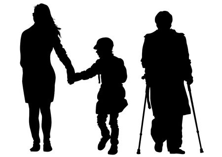 impairment: Vector drawing of a mother with child and disabled on crutches Illustration