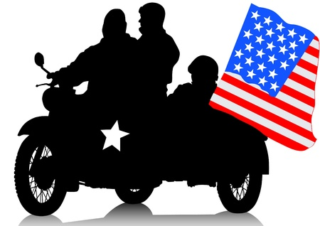 drawing a military retro motorcycle Vector