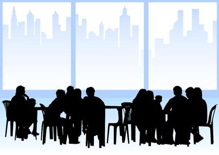 urban life: atraer a la gente en los caf�s. Siluetas de personas en la vida urbana Vectores