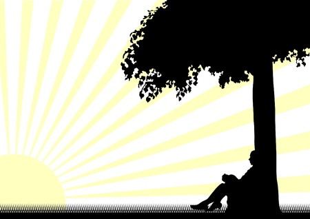 drawing of a girl under a tree in sun Vector