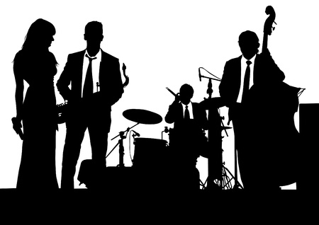 s�ngerin: Zeichnung von einer Jazz-Band auf der B�hne Illustration