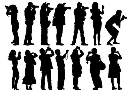 beeld van mensen met camera's en model Stock Illustratie