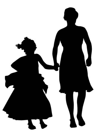 drawing of mothers with children. Silhouettes on white background Stock Vector - 13865250