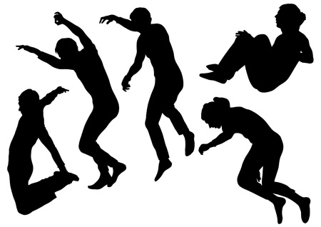 man falling: Vector image of people involved in parkour