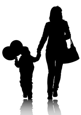 madre e hijo: Los padres de dibujo vectorial y un niño Vectores
