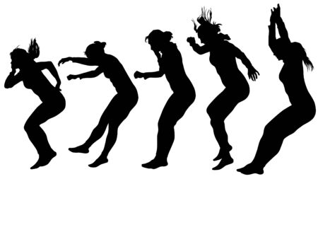 Vector image of people involved in parkour Vector